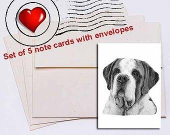 Saint Bernard Pencil Note Card Set