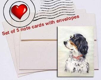 English Setter Head Study Note Card Set