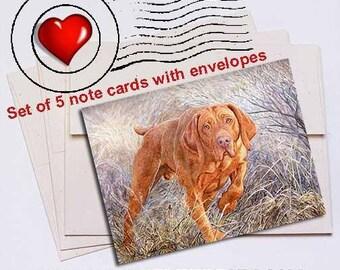 Locked Vizsla Note Card Set