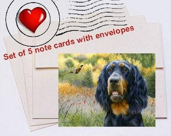 Exhilaration Gordon Setter Note Card Set