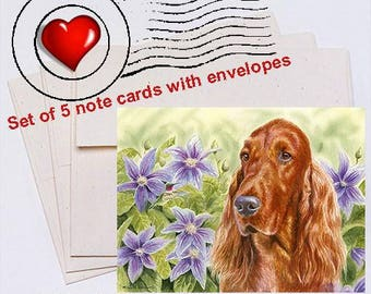 Summer Garden Irish Setter Note Card Set