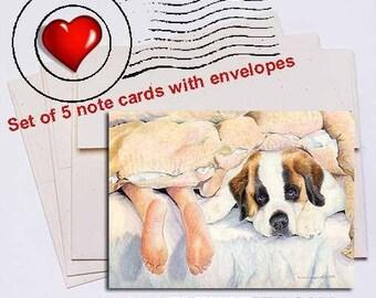 Heads or Tails, Saint Bernard Note Card Set