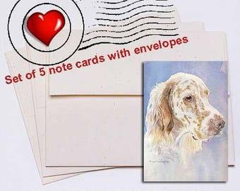 English Setter Head Study II Note Card Set