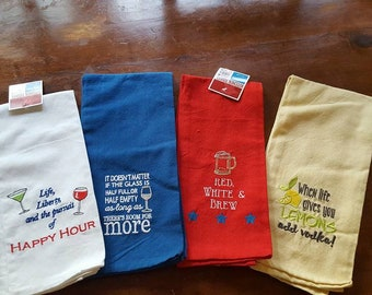 Kitchen Towels / Set of 4 / Bar Towels /  4th of July / Labor Day