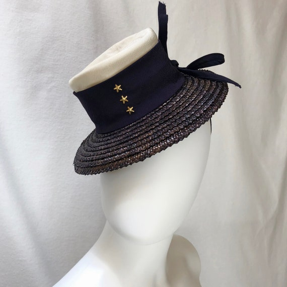 "1940s ""HMS Victoria"" Straw & Fabric Tilt / Toy Hat"