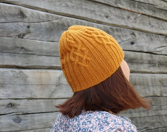 684be37ea601e Women mustard yellow cable knit hat Mustard Yellow cable knit wool hat  Slouchy aran hat Mustard wool hat cable knitted hat