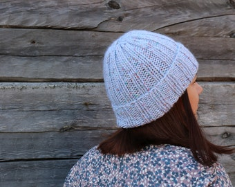 6be062d3fac Women knit blue hat Ribbed hat Blue knit hat Women knit wool beanie women  hat winter hat wool hat