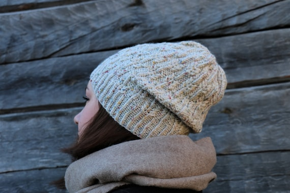 Knitted slouch beanie hat in brown tweed mohair yarn
