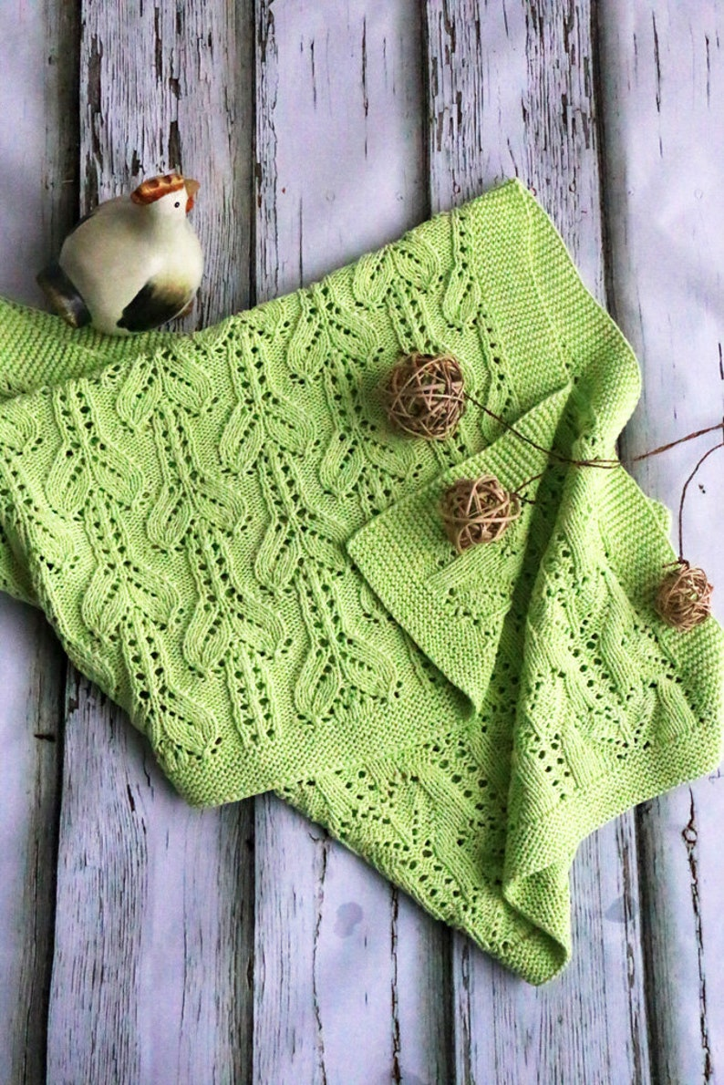 cc259bc1798 100% cotton hand knitted baby blanket Green baby blanket