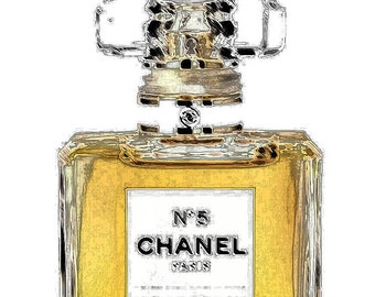 Designer Style Chanel No.5 Perfume Bottle Wallart Art Print Picture