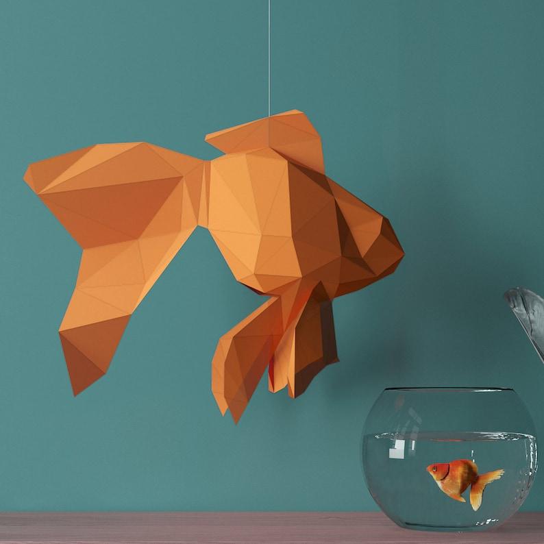 Goldfish, DIY Paper Sculpture, Animal Templates, Papercraft Sculpture,  Paper Trophy pdf, Trophy out of paper, 3d papercraft models