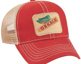 da4076faa05 DEKALB SEED Red Vintage Trademark Logo Cap Hat New Ballcap Corn Distressed
