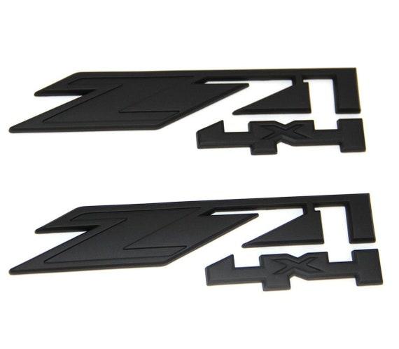 2pcs Matte Black Painted Z71 4x4 Emblems Gmc Chevy Silverado Etsy