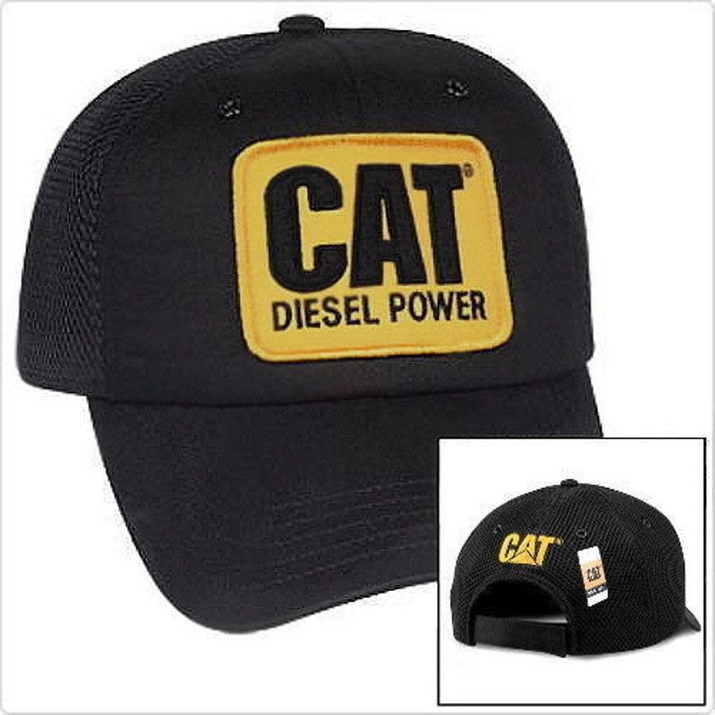 2f267f76bb3ca Caterpillar Diesel Power CAT Equipment Vintage Black Mesh