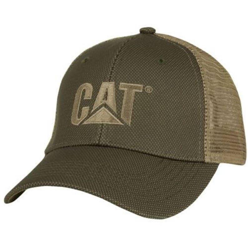 634502fcebfb4 Caterpillar CAT Equipment Trucker Olive   Tan Twill Mesh