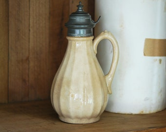 Antique White Ironstone Syrup Pitcher- ENGLAND
