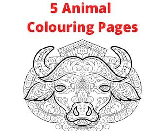 5 Animal Colouring Mandalas for Adults.