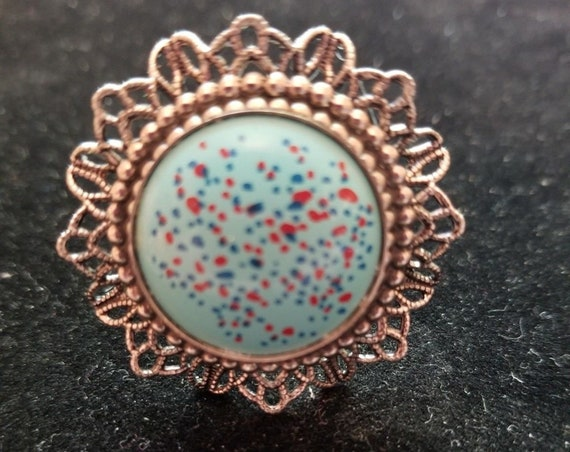 UPCYCLED Vintage OOAK  Pretty blue Cabachon filigree adjustable statement ring