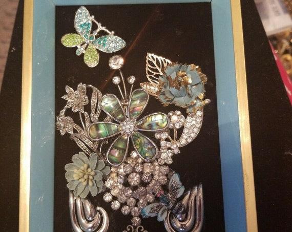 Jewelry Art Framed Vintage & Modern Floral One of a Kind