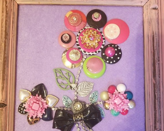"Framed Jewelry art ""Playful Flowers"""