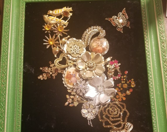 "Framed Vintage Jewelry Art ""Golden Spring"""