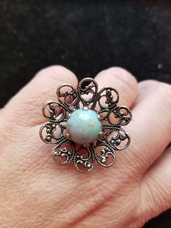 Upcycled Vintage OOAK BLUE CABACHON Adjustable Statement Ring