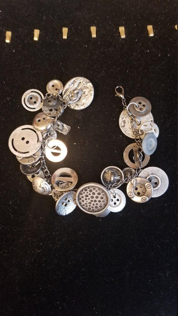 Handmade Button/charm bracelet Chunky OOAK