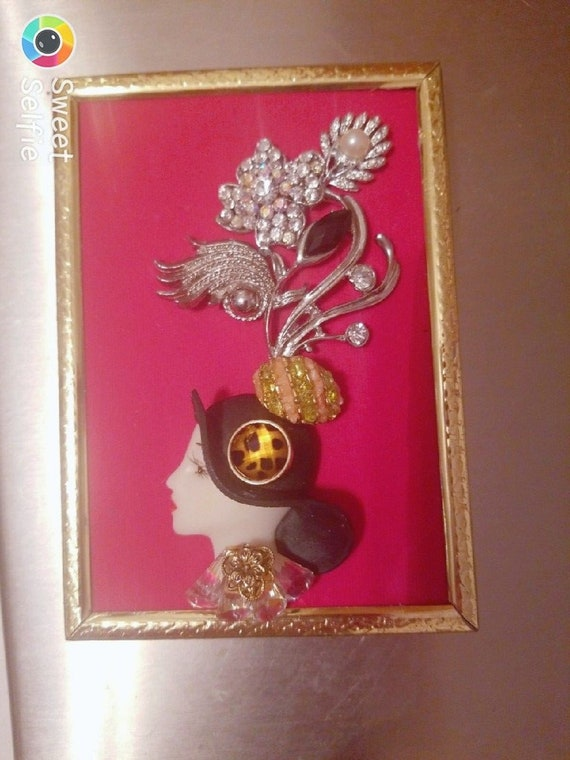 Framed Jewelry Art  Mixed Media Vintage and Contemporary