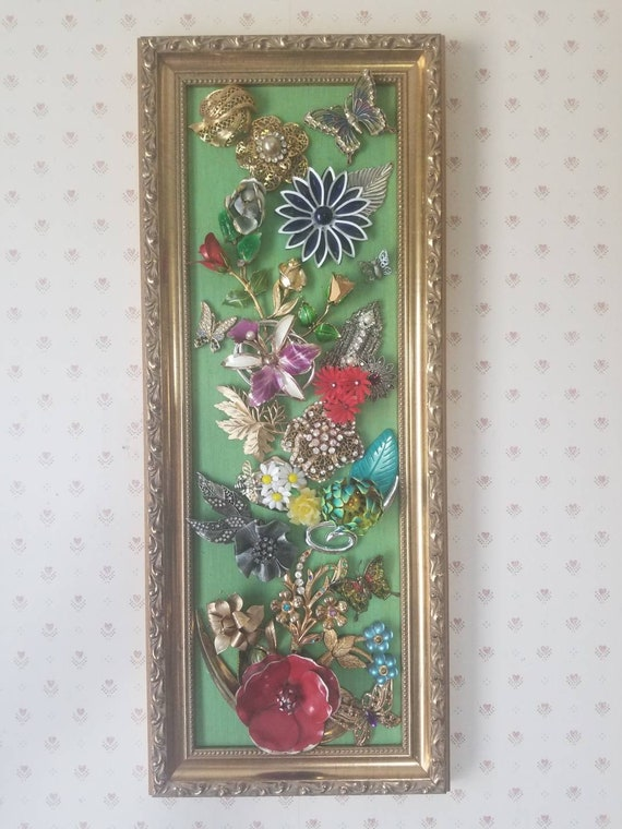 Beautiful floral framed jewelry art 20x8 OOAK