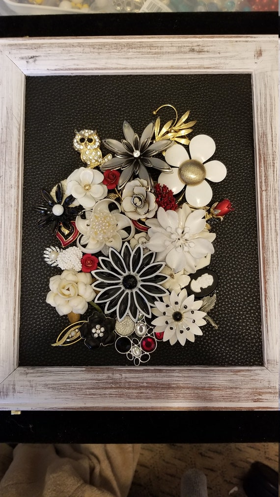 Framed Jewelry Art  Mixed Media Vintage and Contemporary Floral