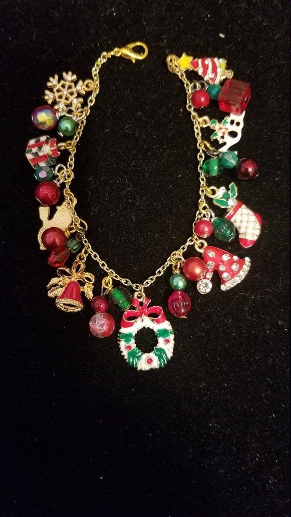 Christmas Charm and beaded bracelet OOAK handmade