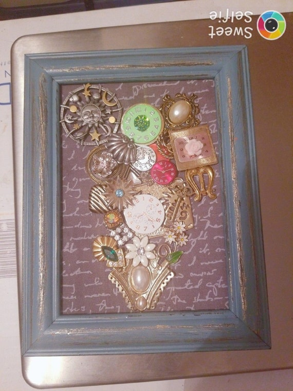 Framed Jewelry Art  Mixed Media Vintage and Contemporary Time