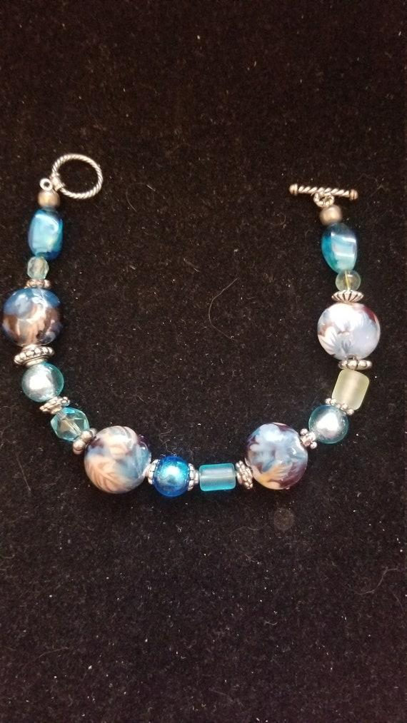 Handmade Bead Bracelet Blue