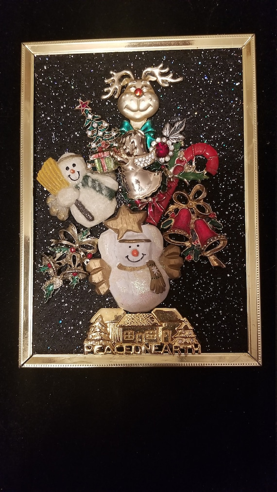 Framed Jewelry Art  Mixed Media Vintage and Contemporary Snowman