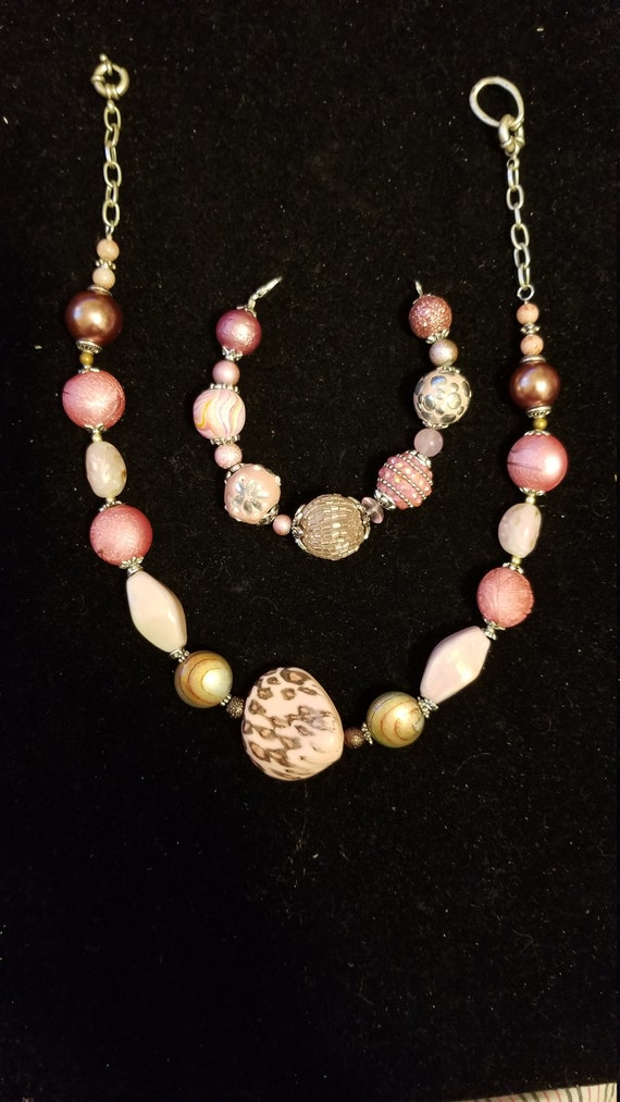 Handmade Beaded Necklace and Bracelet set OOAK