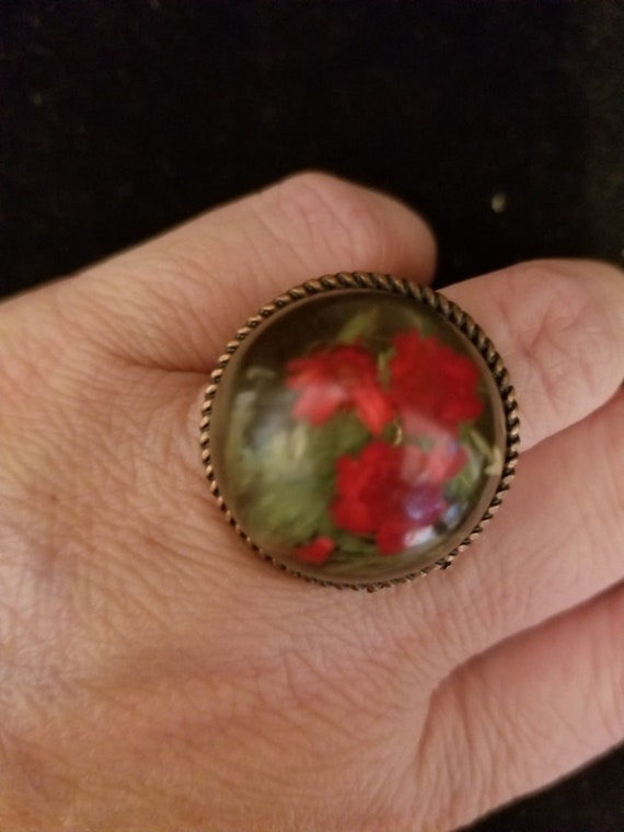 OOAK UPCYCLED Vintage Red Rose Cabochon ADJUSTABLE Statement Ring