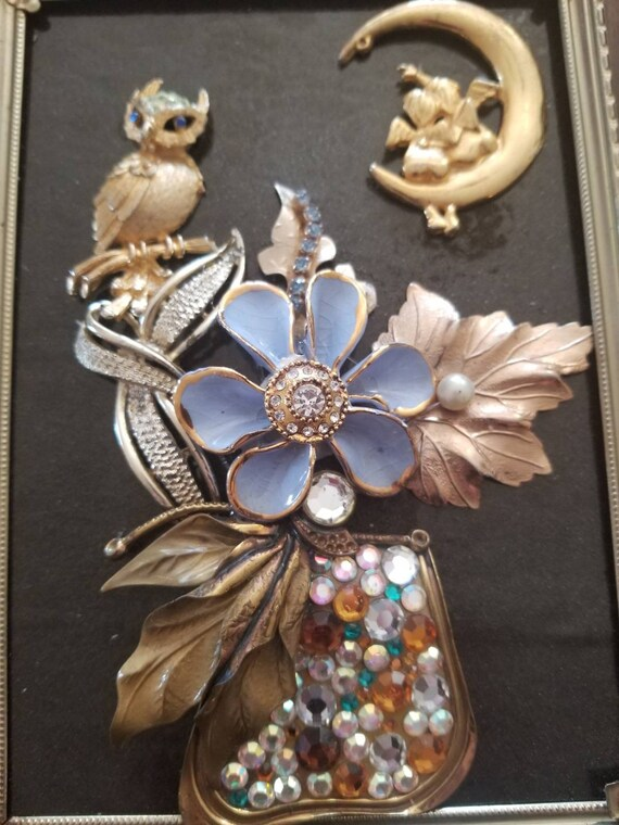 "Framed Vintage jewelry art ""Night Owl"""