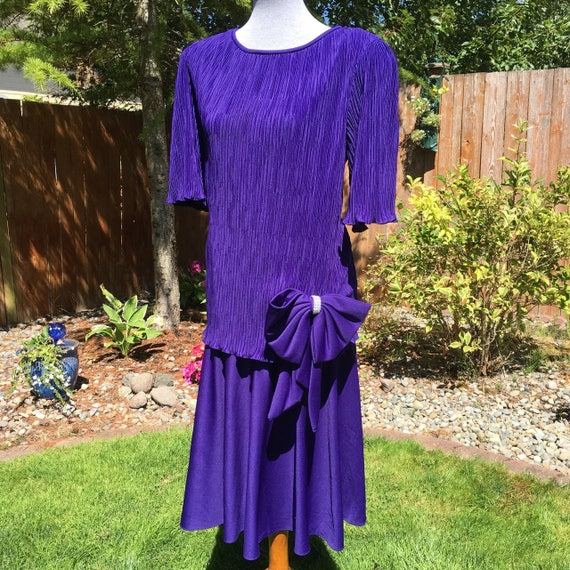 Vintage Purple Drop Waist Prom Dress