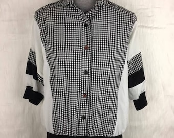 Vintage Cortiva Gingham Button Up Pullover Blouse