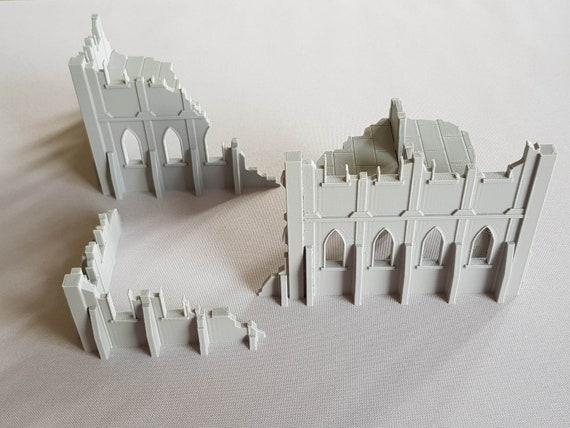 Warhammer 40K - Wargaming Terrain - City Ruins - Chapel - Set Of 3