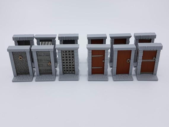 Set of 6 3D Hinged Medieval /'Wooden/' Doors For Fantasy Tabletop Board Games