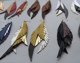 Leather Feather Earrings -  Leather Earrings - Jewelry - Long Leather Feather Earrings - Colorfull - Beautiful