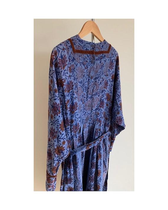 Vintage 70s Anokhi Indian Cotton Smock Dress