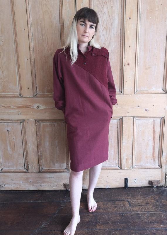 Vintage 80's Maroon Wool Smock Dress / Top