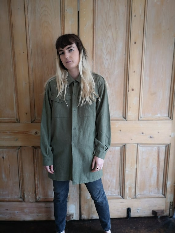 Vintage Military Wool Light Khaki Long Sleeve Shi… - image 2