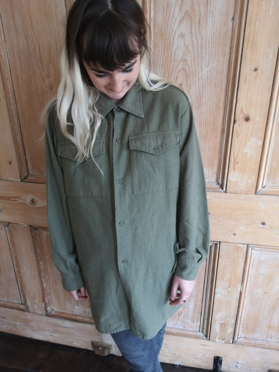Vintage Military Wool Light Khaki Long Sleeve Shi… - image 10