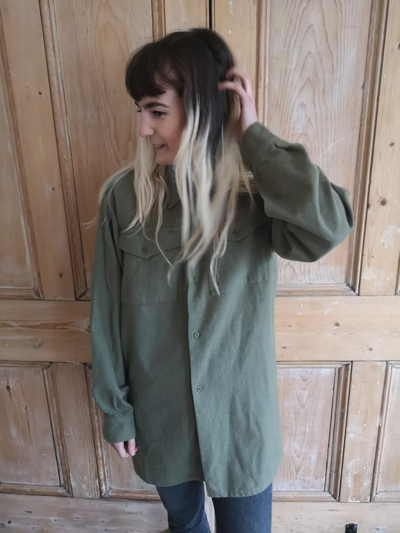 Vintage Military Wool Light Khaki Long Sleeve Shi… - image 3
