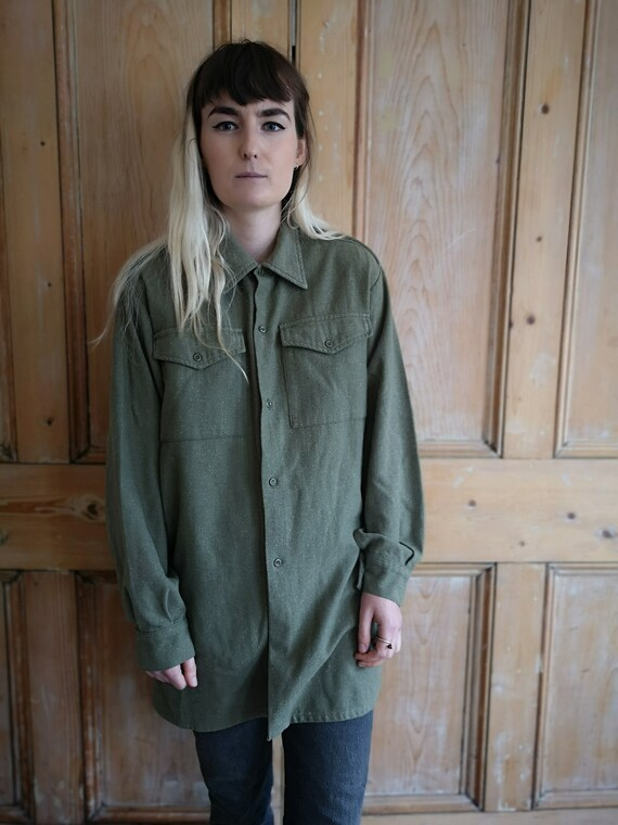 Vintage Military Wool Light Khaki Long Sleeve Shi… - image 4