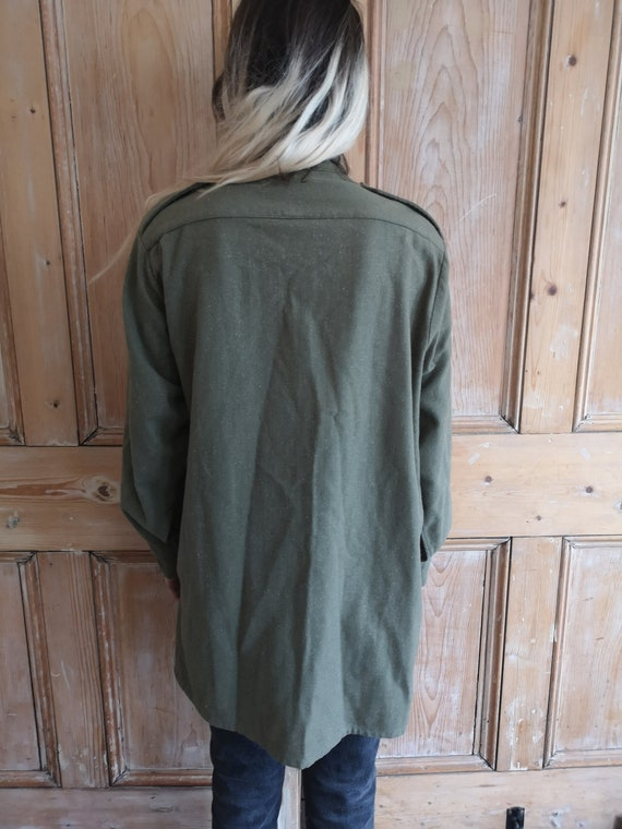 Vintage Military Wool Light Khaki Long Sleeve Shi… - image 7