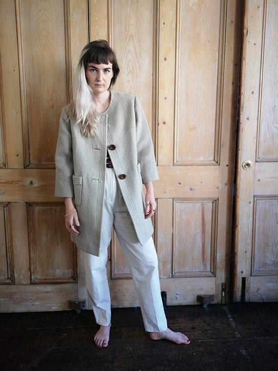Vintage Beige Cropped Sleeve Wool Winter Coat